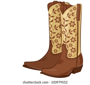 Vector illustration of a pair of cowboy boots