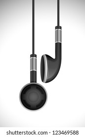 vector illustration of pair of earphone hanging