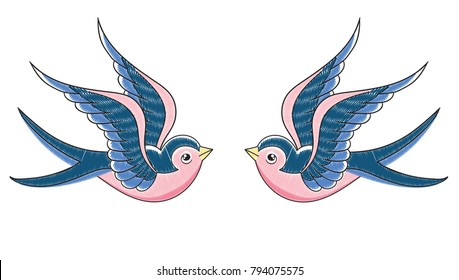 Vector illustration of pair of embroidered swallows with stitch imitation in retro tattoo style isolated on a white background, mirror symmetry