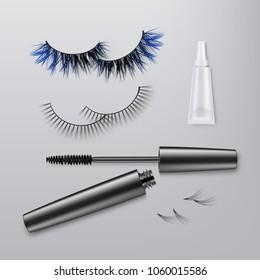 bba3dbe08e8 Vector illustration of pair false eyelashes with bundles, thicker lashes.  Black mascara tube with