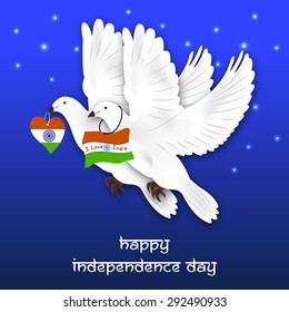 Vector illustration of a pair of Pigeon for Happy Independence Day.