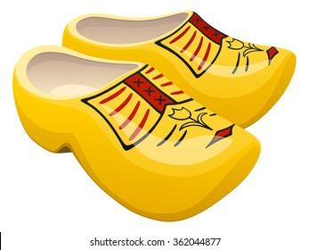 Vector illustration of a pair of traditional yellow Dutch wooden shoes.