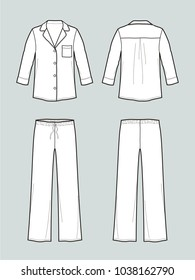 Vector illustration of pajamas suit. Jacket and pants. Front and back