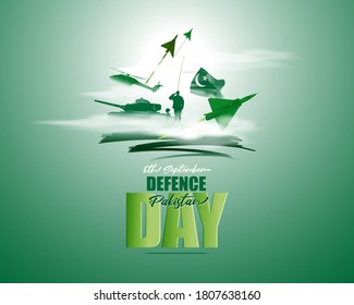 Vector illustration of Pakistan defence day, 6th september, pakistan flag, soldier with rifle and helmet, airforce craft and army tank.