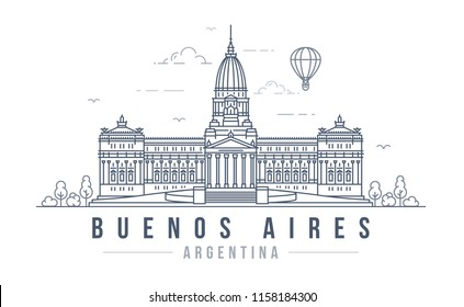 Vector illustration of the Palace of the Argentine National Congress in Buenos Aires. Line art style drawing of the famous landmark building in the capital of Argentina.