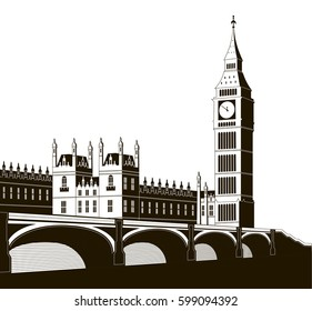 Vector illustration of the Palace of Westminster, Elizabeth Tower (Big Ben) and Westminster Bridge.