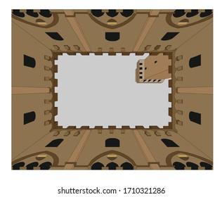 Vector illustration of Palazzo Pubblico in Siena, Italy