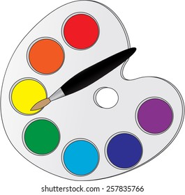 Vector illustration. Palette with paints and a brush. Isolated on white background.