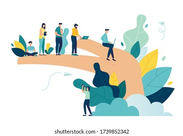 Vector illustration, palm holds people, concept of employee care, well-being at work or in the workplace, benefits for staff, support for professional growth vector