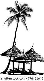 Vector illustration of palm silhouette and and equipped with canopies resting places on the sea coast