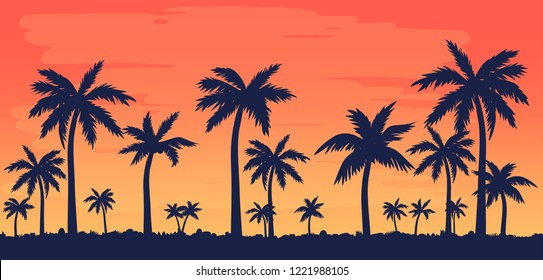 Vector illustration with palm silhouettes and beautiful sky.