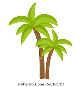 Vector illustration palm tree isolated on white background. Coconut tree. Palm tree. Tourism, travel symbol, sign