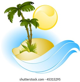 Vector illustration of a palm tree on a small island