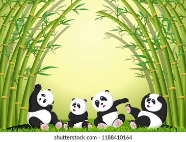 vector illustration of the panda action playing together under the bamboo