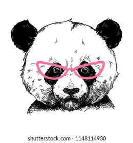 Vector illustration of a panda bear in pink fashionable glasses. Can be used for greeting card, t shirt design, print or poster.
