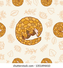 Vector illustration of pangolins and leafs. Infinite repeatable seamless pattern.
