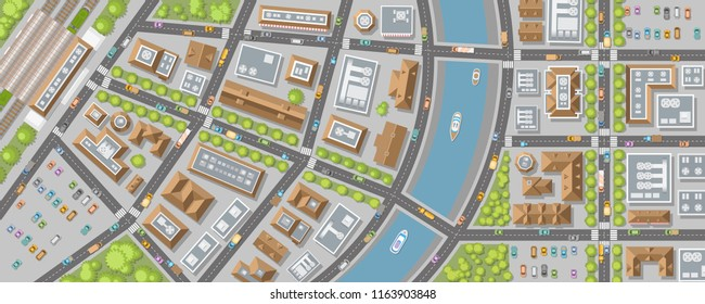 Vector illustration. Panorama of the city. View from above. Streets, houses, buildings, roads, crossroads, station, trees, river, cars. (top view)