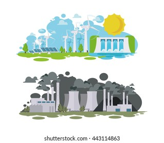 vector illustration panorama of the island vozoyunovlyaemye environmentally friendly alternative sources of energy. island pollution plants with pollution of water and soil air.