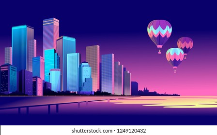 Vector illustration of a panorama of a large night city illuminated by neon lights. Modern buildings and skyscrapers on the waterfront, urban landscape