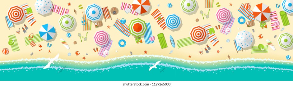 Vector illustration. Panorama of a sunny beach. Top view. Summertime - sea, sand, umbrellas, towels, chairs, clothes, objects. (view from above)