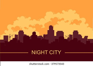 vector illustration of a panoramic image of an evening city sunset silhouette of houses