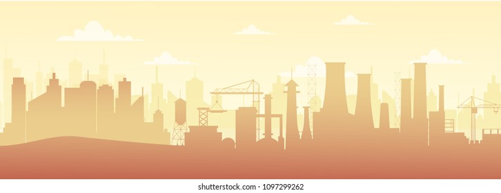 Vector illustration of panoramic industrial silhouette landscape with factory buildings and pollution in flat style.