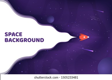 Vector illustration. Panoramic space wallpaper. Abstract concept. Gradient planets. Space exploration. Modern art graphics. Elements for web design