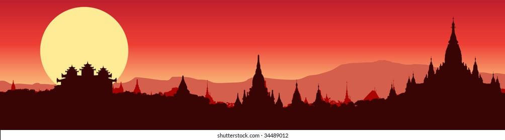 vector illustration of a panoramic view of Bagan in Myanmar
