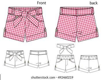 Vector illustration of pants design. Front and back views