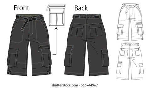 Vector illustration of pants. Front and back views