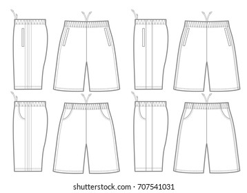 Vector illustration of pants. Front and side  views.