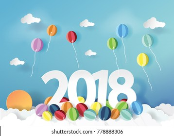 Vector Illustration. paper art of balloons happy new year 2018 with blue sky.Paper art carving