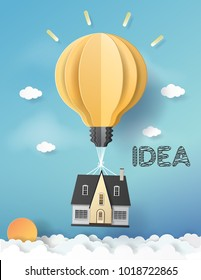 Vector Illustration. paper art of idea balloons with blue sky.Paper art carving