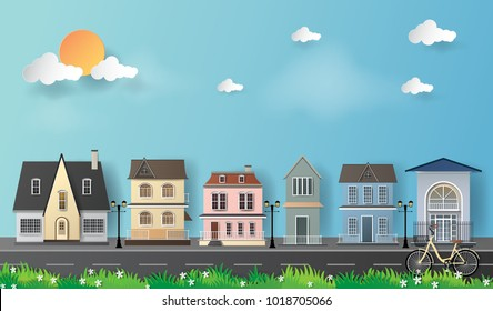 Vector Illustration. paper art of villa house and blue sky.Paper art carving