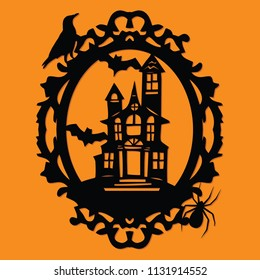 A vector illustration of a paper cut silhouette halloween spooky manor mansion ornate frame.