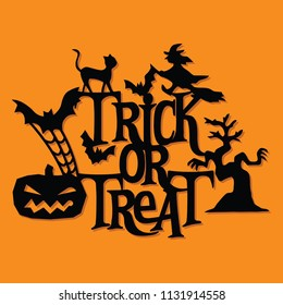 A vector illustration of a paper cut silhouette halloween trick or trick decoration. The halloween banner is made of witch, pumpkin, bats, cats and lettering.