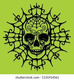A vector illustration of a paper cut silhouette halloween skull in web.