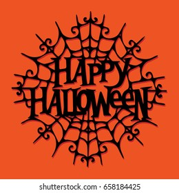 A vector illustration of paper cut silhouette happy halloween spider web.