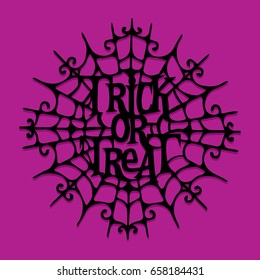 A vector illustration of paper cut silhouette halloween trick or treat spider web.