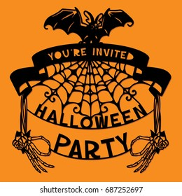A vector illustration of a paper cut silhouette halloween party invitation banner. The halloween banner is made of pumpkin, skeleton hands and lettering.