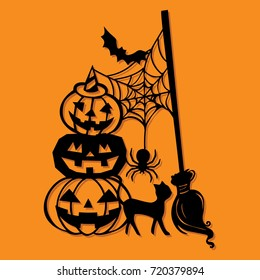 A vector illustration of a paper cut silhouette halloween pumpkin stack broomstick decoration.