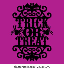 A vector illustration of a paper cut silhouette halloween trick or treat vintage ornate swirl.