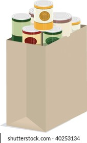 a vector illustration of a paper grocery bag of groceries
