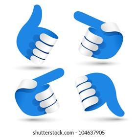 Vector illustration paper hands.