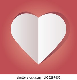 Vector illustration of paper hearts on paper background, close-up