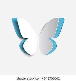 Vector illustration of paper origami blue buttrfly