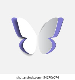 Vector illustration of paper origami lilac buttrfly
