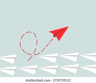 Vector illustration of a paper plane flying in air.