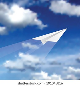 vector illustration of the paper plane on cloudy sky