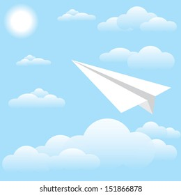 Vector illustration of paper plane at sky, sun and cloud